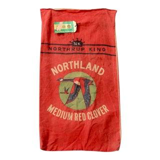 """Vintage """"Northrup & King Clover"""" Red Seed Sack"""
