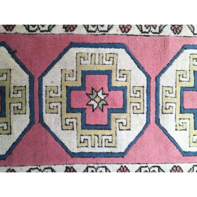 "Vintage Pink Turkish Runner - 7'4"" X 2'8"" - Image 4 of 7"