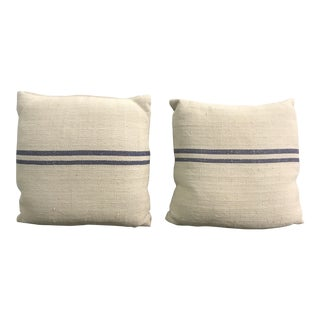 French Linen/Grain Sack Style Square Navy Striped Pillows - a Pair