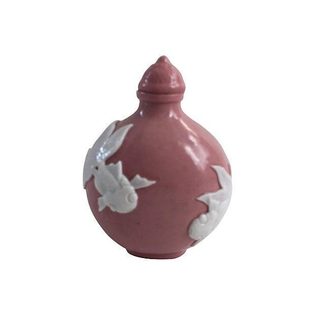 Chinese pink porcelain koi fish bottle chairish for Where to buy koi fish near me