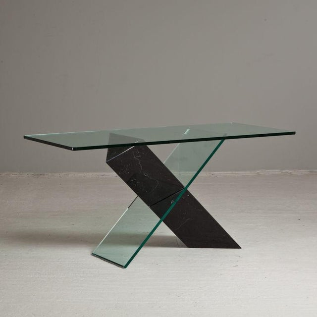 A Black Stone and Glass Console Table designed by Reflex 1980s - Image 2 of 4