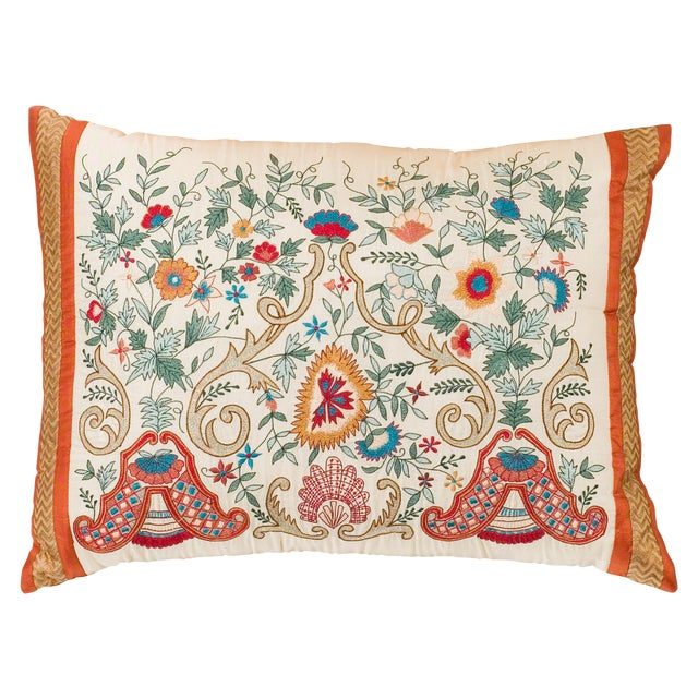 Luxury Silk Embroidered Decorative Pillow - Image 1 of 8