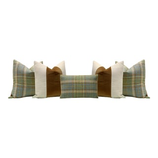Brunschwig and Fils Plaid Wool and Sable Velvet Panel Pillows - Set of 5