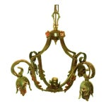 Image of French Acanthus Leaf Metal Polychrome Chandelier