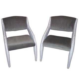 Gray Sculptural Art Deco Armchairs - A Pair