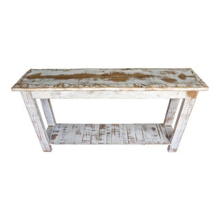 Antique White Reclaimed Wood Console Table