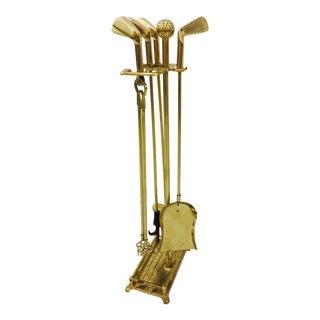 Vintage Gold Brass Golf Club Fireplace Set