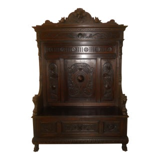 Renaissance Revival Carved Oak Bench