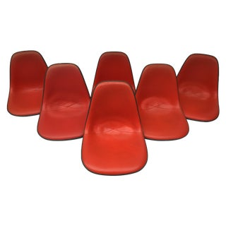 Eames Red Vinyl & Fiberglass Shells - Set of 6