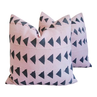 Pink & Charcoal Mali Tribal Mud Cloth Pillows - A Pair