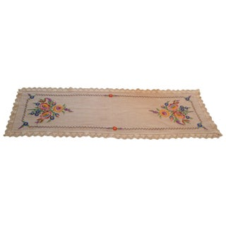 Vintage Handmade European German Polish Linen Table Runner