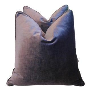 Custom Eggplant Purple Velvet Pillows - Pair
