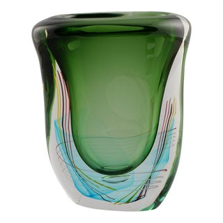 Large Green Fratelli Toso Murano Glass Vase