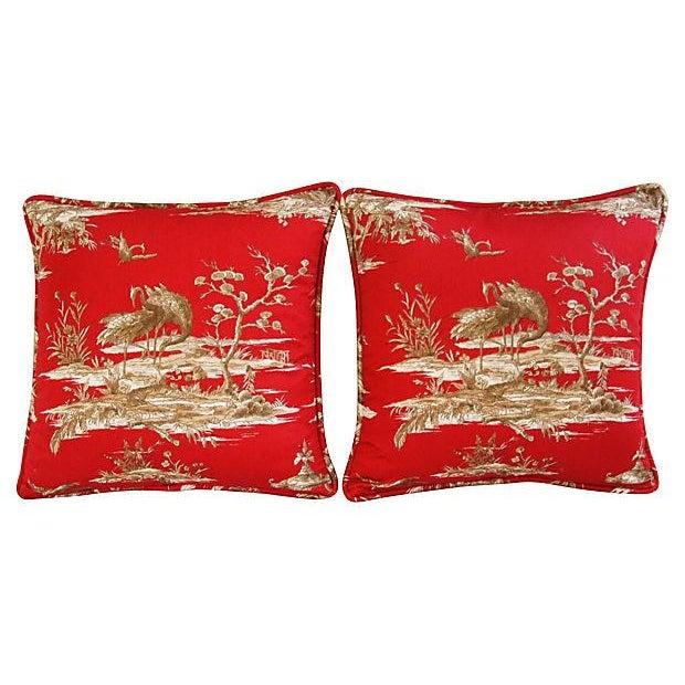 Designer Shanghai Crane Toile Pillows - Pair - Image 7 of 8