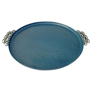 Kyes Mid-Century Blue Moiré Tray