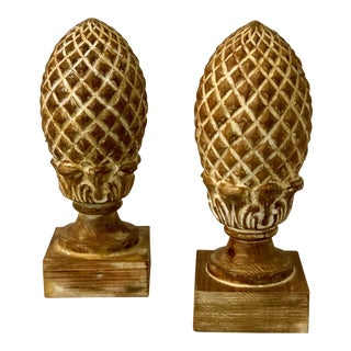 Carved Wood Pineapple Finials - A Pair