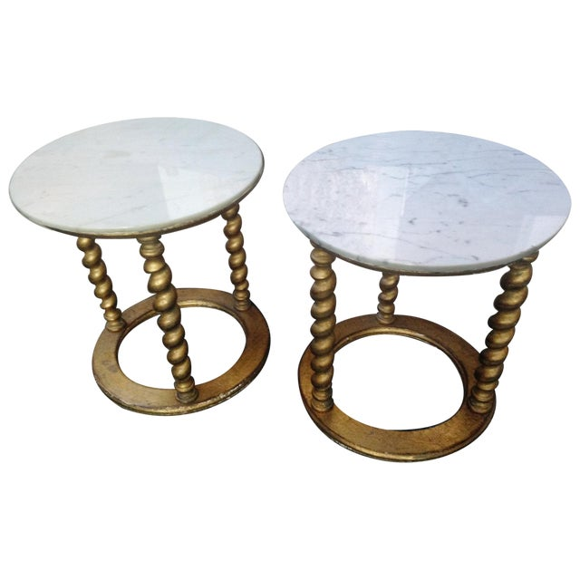 Florentine carrera marble top side tables pair chairish for Table carrera