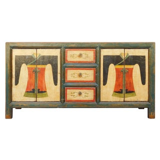 Chinese Distressed Graphic Console Table Cabinet cs2030C