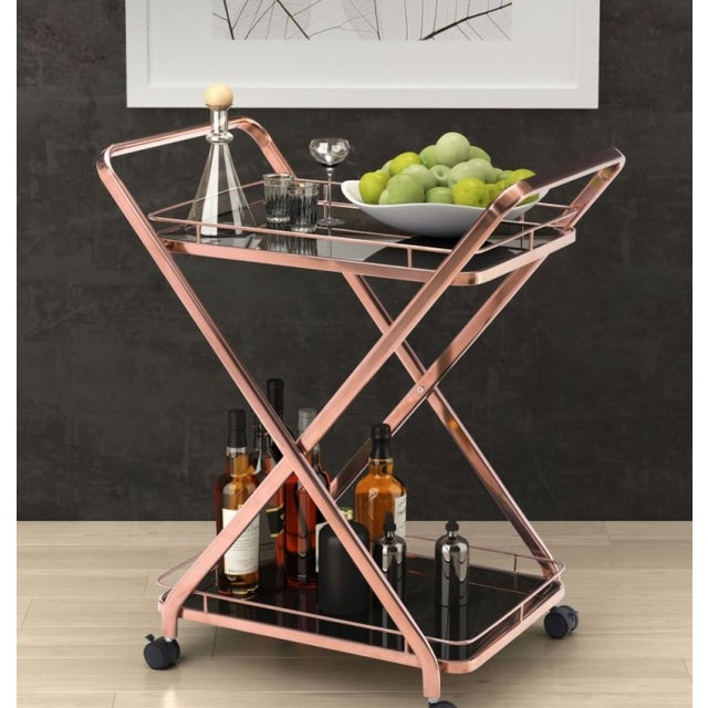 Rose Gold & Black Glass Bar Cart - Image 4 of 4