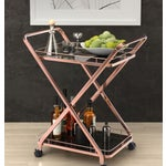 Image of Rose Gold & Black Glass Bar Cart