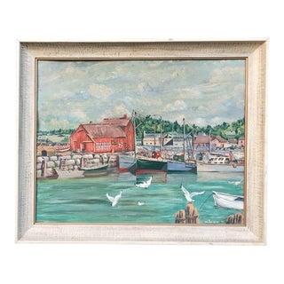 Mid Century Oil Painting of Lake MI Marina