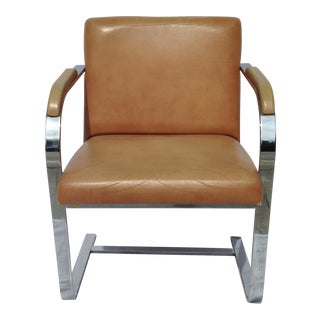 Brno Style Chome Tan Vinyl Side Chair