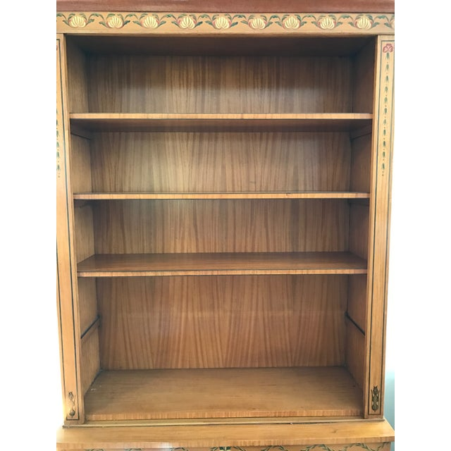 Regency-Style Satinwood Floral Bookcase - Image 8 of 10