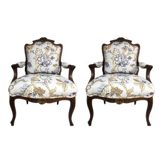 Antique French Walnut Fauteuil Arm Chairs- A Pair