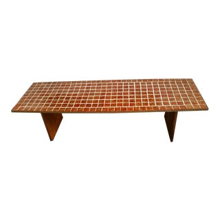 Mid-Century Lava Orange Mosaic Tile Surfboard Coffee Table