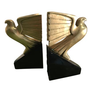Art Deco Brass Falcon Bookends