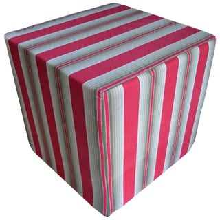 Antique French Ticking Fabric Ottoman Pouf