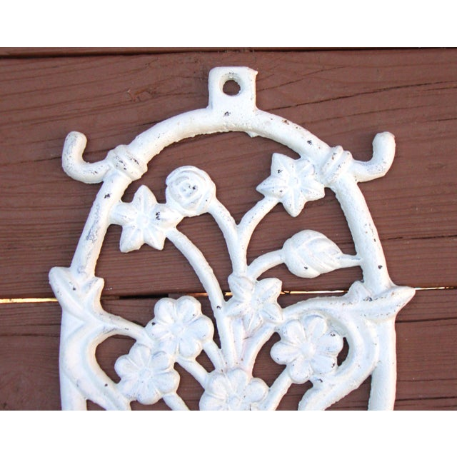 Painted White Cast Iron Floral Candle Sconces - 2 - Image 5 of 11