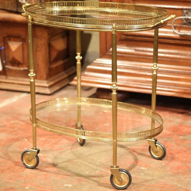 French Oval Brass Bar Cart on Wheels - Image 5 of 8