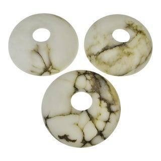 Mid Century Marble Chandelier Light Shades - Set of 3