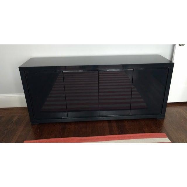 Large Indigo Lacquered Cabinet Credenza - Image 4 of 10
