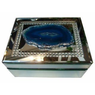 Blue Agate on Mirrored Box with Square Rhinestones
