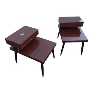 Vintage Mahogany Formica Tiered End Tables - a Pair