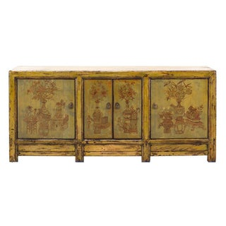 Yellow & Green Floral Sideboard or Buffet Table