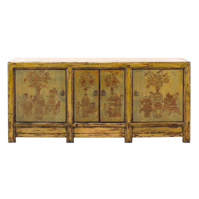 Yellow & Green Floral Sideboard or Buffet Table - Image 1 of 5