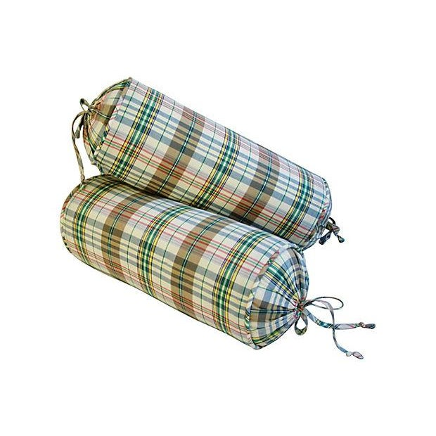 Custom Ralph Lauren Madras Bolster Pillows - Pair - Image 1 of 6