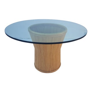Vintage Rattan And Glass Top Round Dining Table .