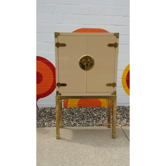 Image of Mastercraft Brass and Lacquered Bar Cabinet