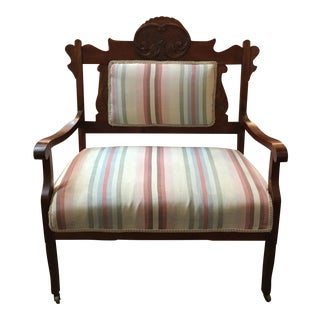Antique Stripe Upholstered Loveseat on Wheels