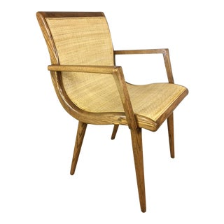 Oak Cane Sling Side Chair