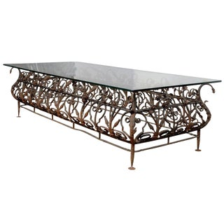 Austrian Mid-19th Century Large Size Wrought Iron and Glass Top Coffee Table