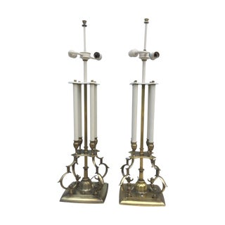 1950's Brass Stiffel Table Lamps - Pair