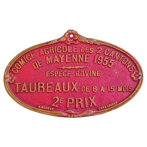 Image of Vintage 1955 French Taureaux Prize Award Plaque