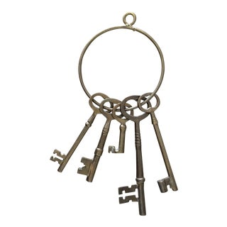 Antique Skeleton Key Ring With 5 Keys