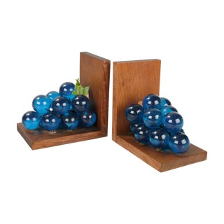 Mid-Century Blue Grapes & Wood Bookends - A Pair