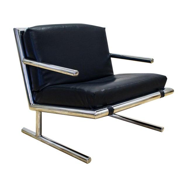 Tubular Chrome & Navy Vinyl Club Chair - Image 1 of 8